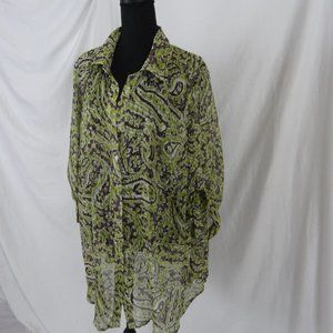 Avenue Sheer green/brown button up blouse 26/28